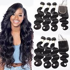 crochet hairstyles human hair ugrace hair 3 bundles body wave with closure unprocessed human hair