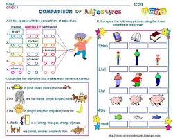 grammar worksheets gr 1 comparison of adjectives