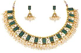 green stone necklace set images Jfl traditional one gram gold plated green stone cz american jpg