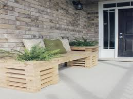 neat diy garden bench with handmade wood construction in the