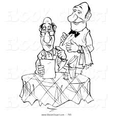 clip art of a coloring page of a waiter standing behind a food