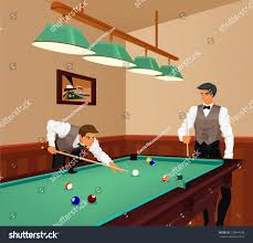 American Billiards petition Two Young Men Stock Vector