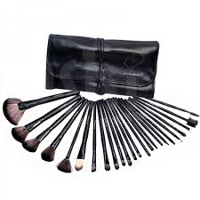 24 piece mac makeup brush set with leather pouch mbs