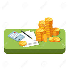 make money under the table green table with stacks of coins working papers and calculator