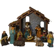 Outdoor Plastic Light Up Nativity Scene by Holiday Time Christmas Decor 13 Pieces Nativity Set Walmart Com