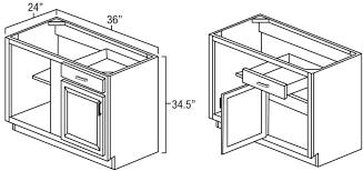 corner base cabinet for kitchen knotty hickory shaker 42 45 blind corner base unit
