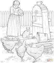 chickens at barnyard coloring page free printable coloring pages