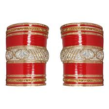 punjabi wedding chura manihaar designer white golden stones beautiful flower