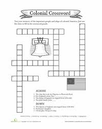 colonial crossword puzzle worksheets social studies and homeschool
