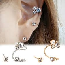 clip on pearl earrings 2018 womens pearl rhinestone ear clip ear stud