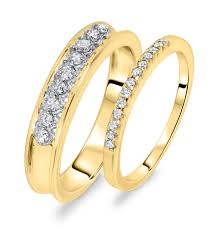 His And Her Wedding Rings by 3 8 Ct T W Diamond His And Hers Wedding Rings 14k Yellow Gold