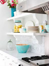 22 ideas for styling open kitchen shelves brit co