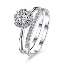 wedding rings sets for solid 925 sterling silver white christal birthstone stackable