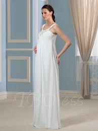 pregnancy empire waist beading chiffon maternity wedding dress
