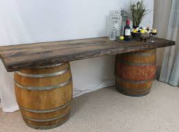 whiskey barrel side table bar made out of wine barrels creepingthyme info