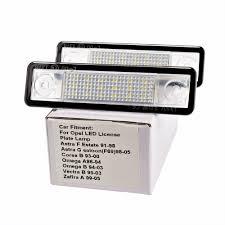 2x car led license plate lights 12v number plate lamp for opel