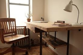 industrial reclaimed wood stand up desk modern desks and