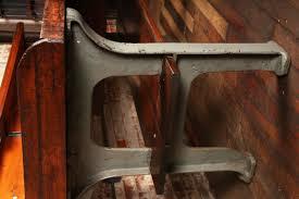 vintage industrial wood u0026 cast iron work table get back inc