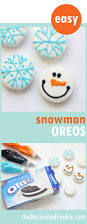 snowflake and snowman oreo cookies