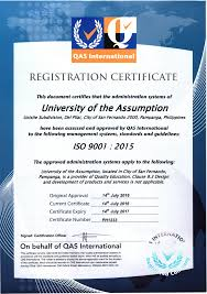 ua is iso 9001 2015 certified u2013 university of the assumption