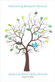 baby shower tree personalized baby shower tree family tree thumb print poster