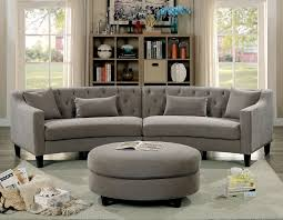 Microfiber Sectional Sofas by Sarin Contemporary Style Rounded Design Warm Grey Linen Fabric