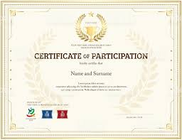Participation Certificate Templates Free Download Certificate Of Participation Template In Gold Theme With Trophy