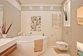 clean bathroom design with corner bath tube and prefect light