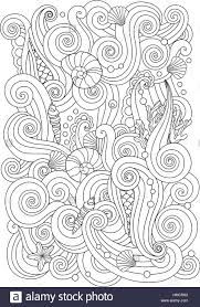 coloring page with abstract sea background waves shells corals