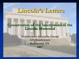lincoln u0027s letters conservation of the inscriptions in the lincoln me u2026