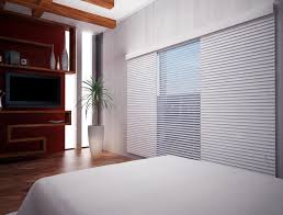decorating large window with white levolor blinds on white wall