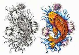 two koi fishes with lotus flowers tattoo design by crisluspotattoos