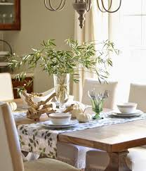 cool dining table setting with bamboo branches decor in glass