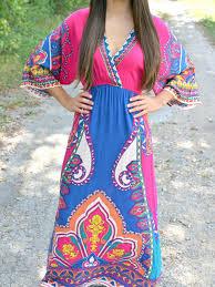 rose v neck contrast boho paisley print 3 4 sleeve maxi dress best