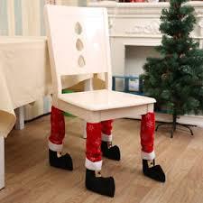 Chair Feet Covers Santa Christmas Elf Dinner Table Chair Feet Leg Covers Case