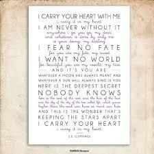 wedding quotes ee i carry your heart e e poem printable design 29x39cm