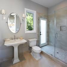 Bathroom Shower Window Bed Bath Pedestal Sink And Oval Bathroom Mirror With Wall