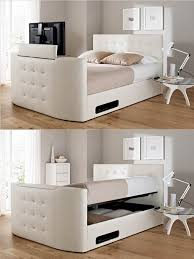 Ottoman Tv Bed with 28 White Leather Bed With Storage Modrest Logan White