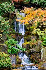 Japanese Garden Walls by Portland Oregon United States Of America A Waterfall In The