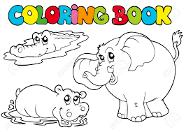 coloring book tropic animals illustration royalty free