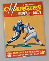 san diego chargers1964 thanksgiving day program