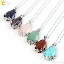 beaded pendant necklace designs images Wholesale csja flower special back design water drop shape pendant jpg