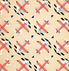 detail of textile design with airplanes 1928 zinaida belevich