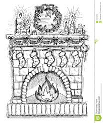 hand drawn illustration of christmas fire place stock vector