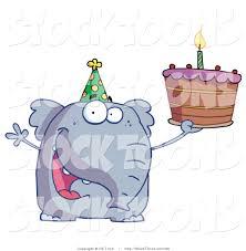 stock cartoon of a happy birthday elephant by hit toon 99