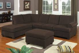 Reversible Sectional Sofa 2 Pc Chocolate Corduroy Suede Fabric Upholstered Reversible