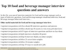 F B Manager Resume Sample by Top10foodandbeveragemanagerinterviewquestionsandanswers 150405201040 Conversion Gate01 Thumbnail 4 Jpg Cb U003d1428282688