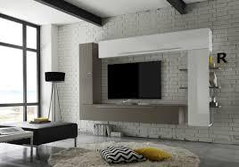 mensole laccate lucide soggiorno moderno tortora opaco e bianco laccato lucido l 274 cm