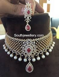 diamond set diamond choker set jewellery designs