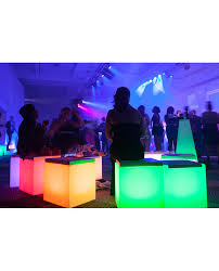 white illuminated led cube hire